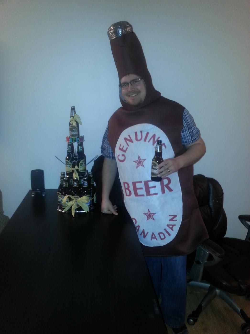 For my 29th birthday, we had beer themed party and my friends made me a beer cake and made me dress up as a beer.